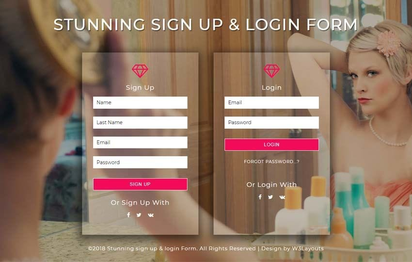Stunning Signup and Login Form Flat Responsive Widget Template Mobile website template Free