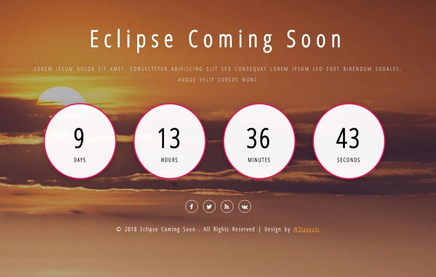 Eclipse Coming Soon Flat Responsive Widget Template Mobile website template Free