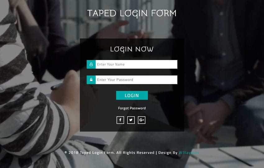 Taped Login Form Responsive Widget Template Mobile website template Free