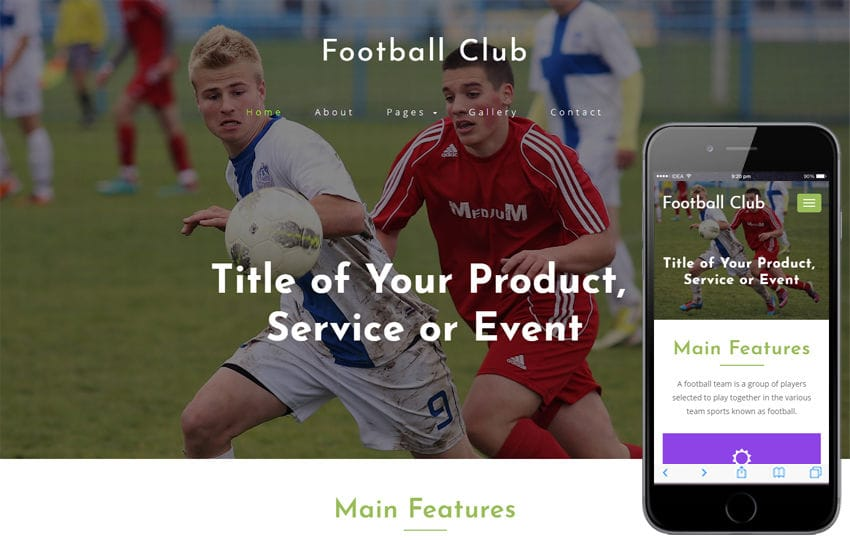 Football Club Sports Category Bootstrap Responsive Web Template Mobile website template Free