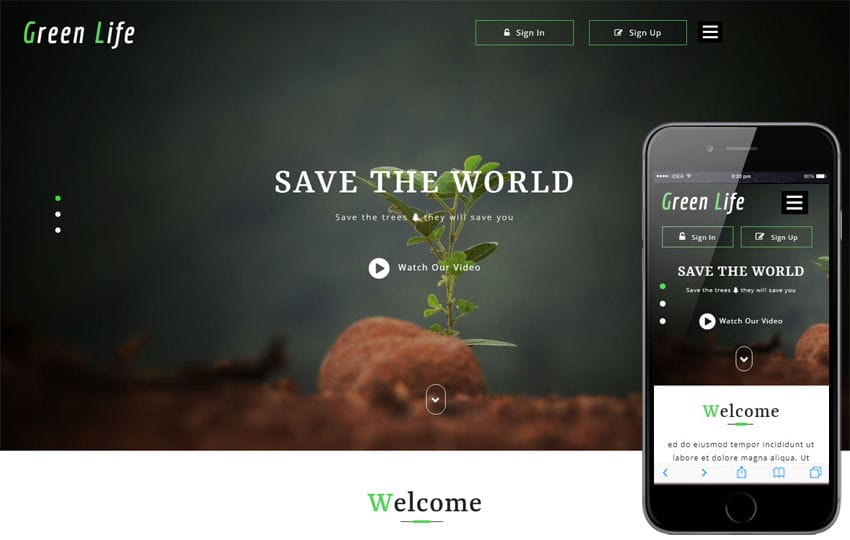 Green Life Agriculture Category Bootstrap Responsive Web Template Mobile website template Free