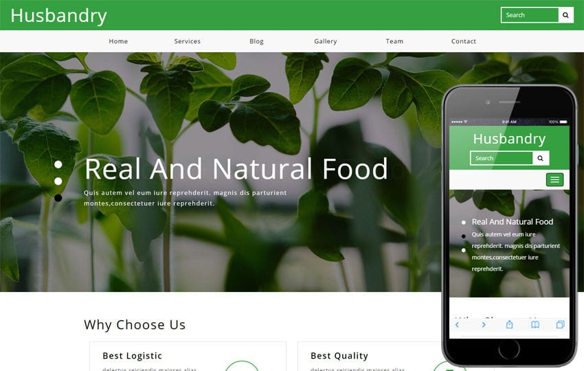 Husbandry Agriculture Category Bootstrap Responsive Web Template Mobile website template Free