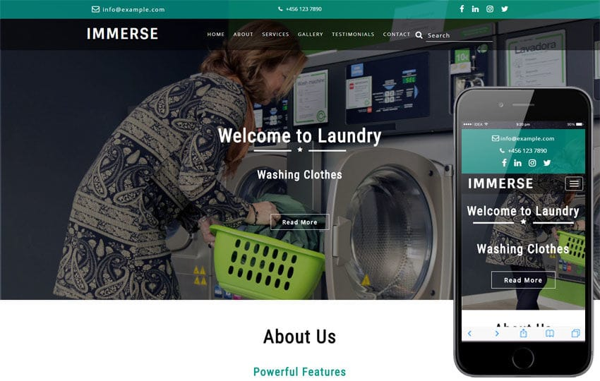 Immerse Laundry Flat Bootstrap Responsive Web Template Mobile website template Free