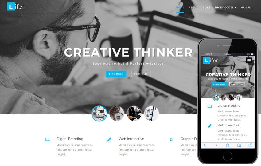 Lifer Corporate Category Bootstrap Responsive Web Template Mobile website template Free