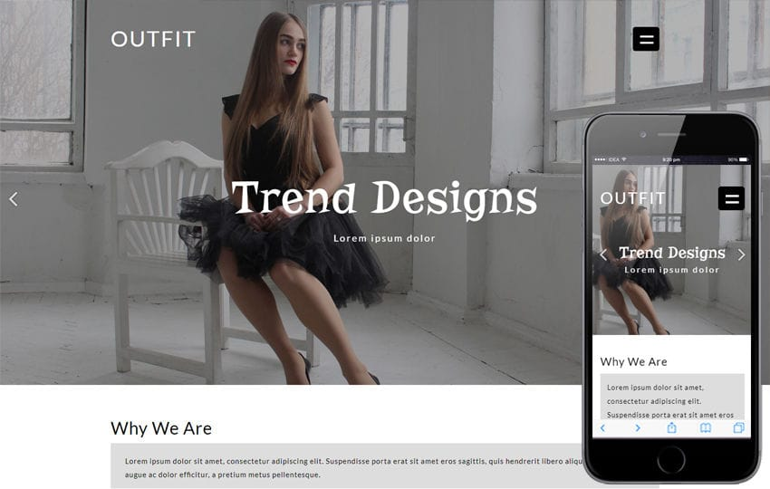 Outfit Fashion Category Flat Bootstrap Responsive Web Template Mobile website template Free