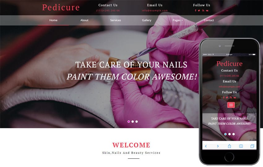 Pedicure Beauty Category Bootstrap Responsive Web Template Mobile website template Free