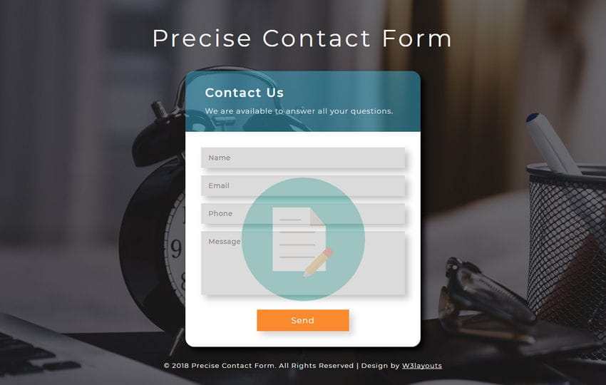 Precise Contact Form Responsive Widget Template Mobile website template Free