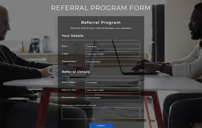 Referral Program Form Responsive Widget Template Mobile website template Free