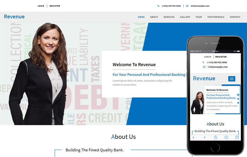 Revenue Banking Category Bootstrap Responsive Web Template Mobile website template Free