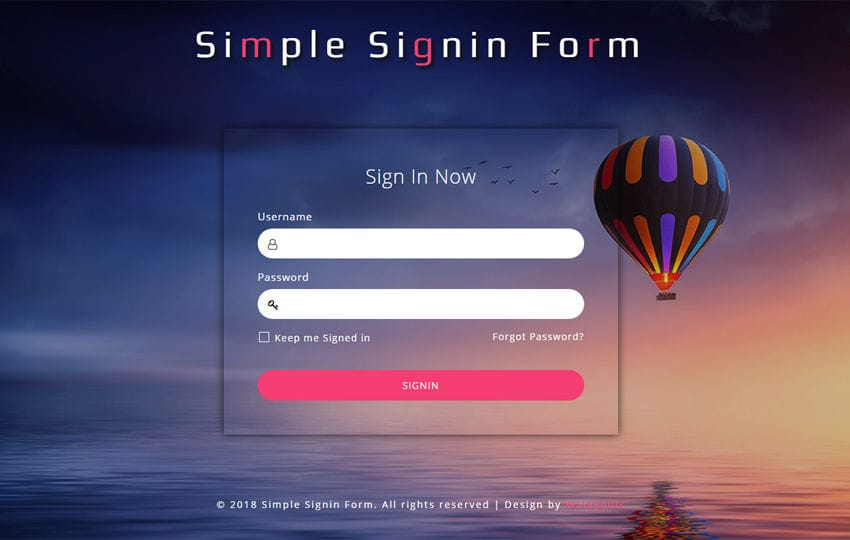 Simple Sign in Form Responsive Widget Template Mobile website template Free