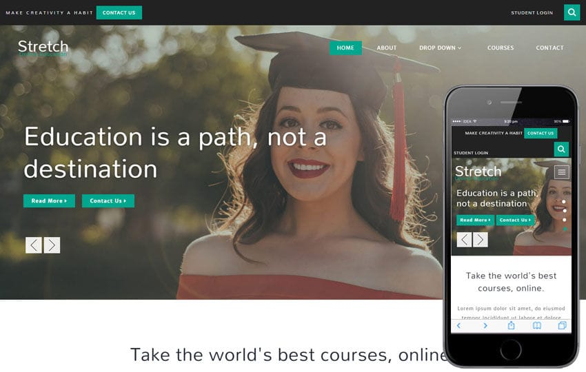 Stretch Education Category Bootstrap Responsive Web Template Mobile website template Free