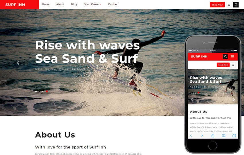 Surf Inn Sports Category Bootstrap Responsive Web Template Mobile website template Free