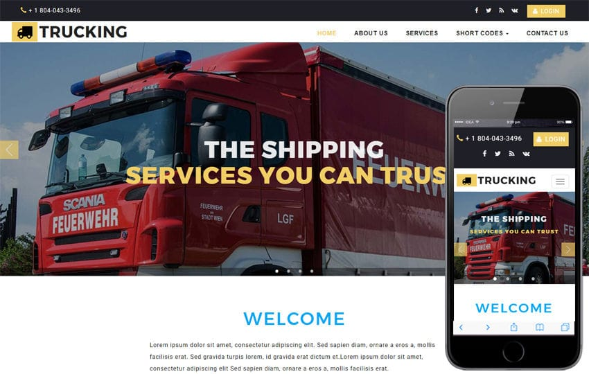 Trucking Transport Category Bootstrap Responsive Web Template Mobile website template Free