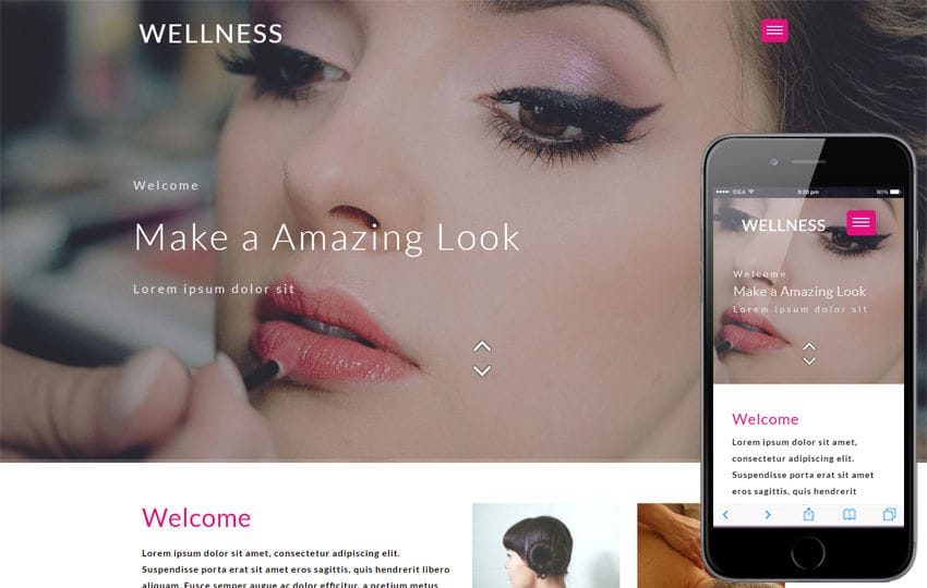 Wellness Beauty Category Flat Bootstrap Responsive Web Template Mobile website template Free