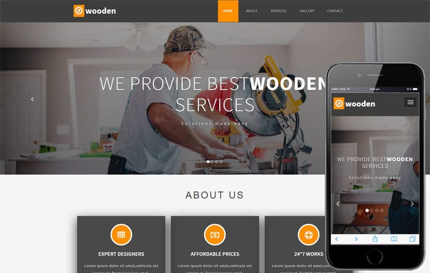 Wooden Industrial Category Bootstrap Responsive Web Template Mobile website template Free