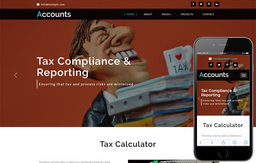 Accounts Corporate Category Bootstrap Responsive Web Template Mobile website template Free