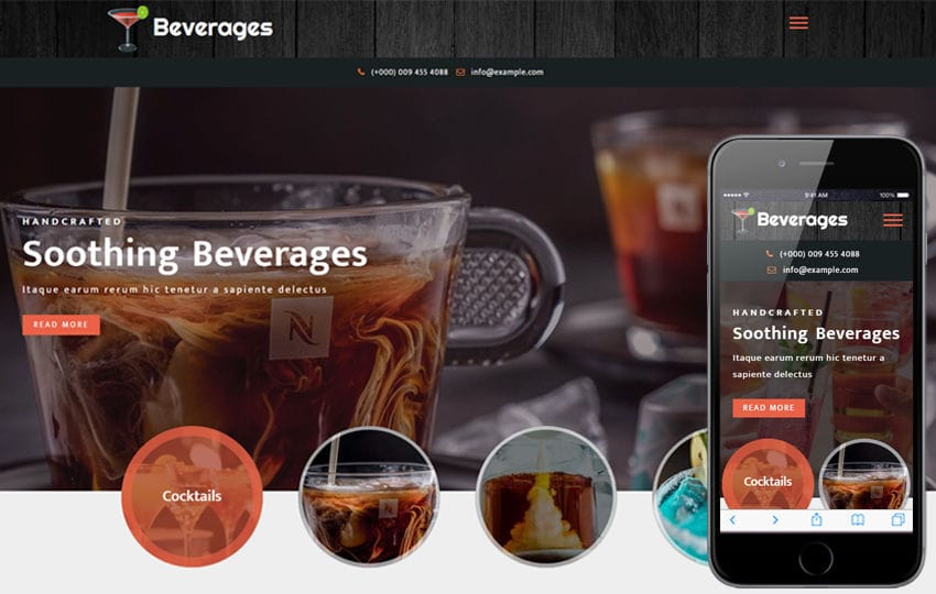 Beverages Restaurant Category Bootstrap Responsive Web Template Mobile website template Free