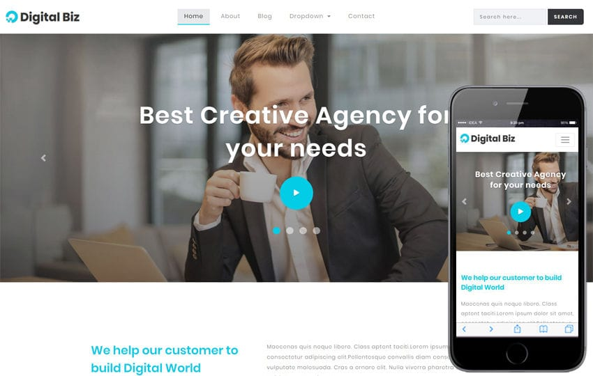 Digital Biz Corporate Category Bootstrap Responsive Web Template Mobile website template Free