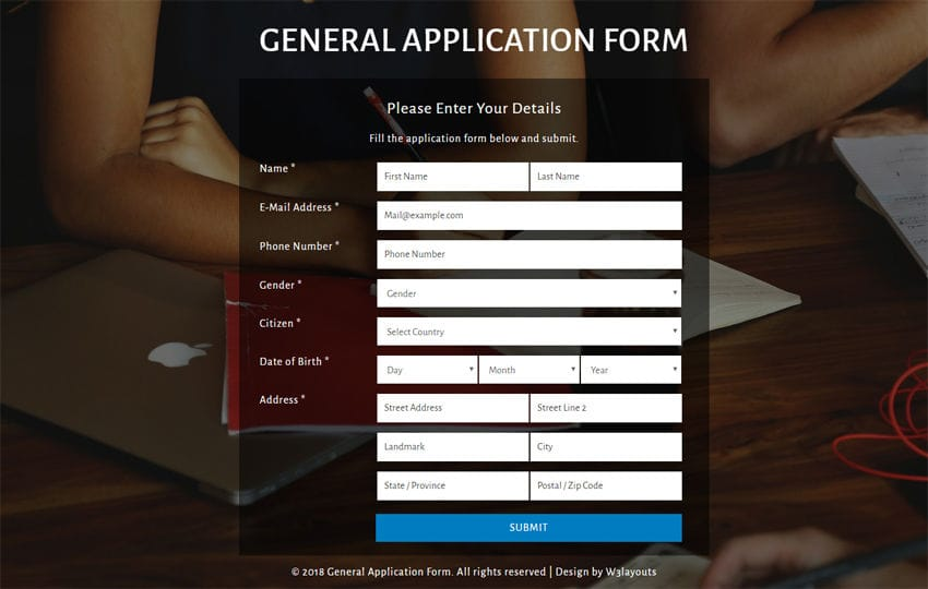 General Application Form Flat Responsive Widget Template Mobile website template Free