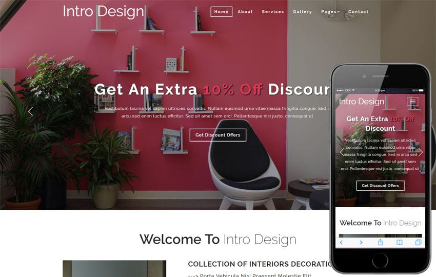 intro design upholstery interior category bootstrap responsive web template - Interior Design Web Templates