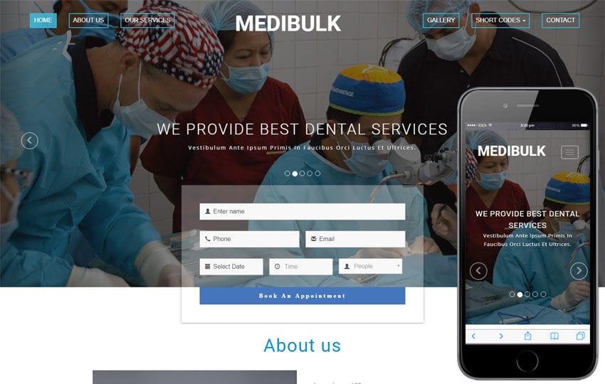 Medibulk Medical Category Bootstrap Responsive Web Template Mobile website template Free