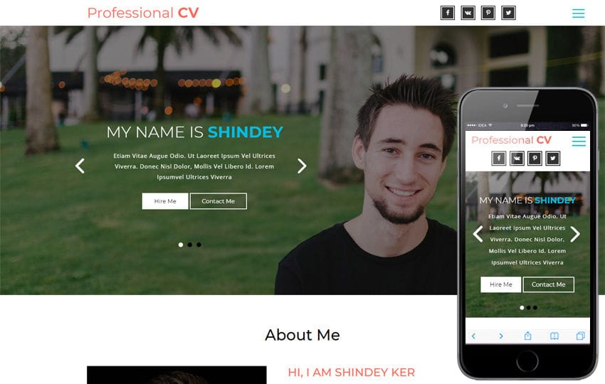 Professional CV a Personal Category Bootstrap Responsive Web Template Mobile website template Free