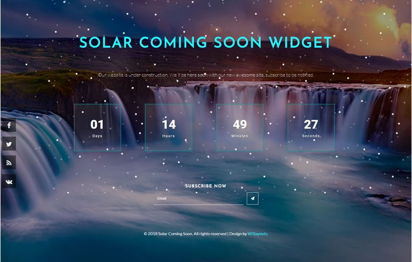 Solar Coming Soon Flat Responsive Widget Template Mobile website template Free