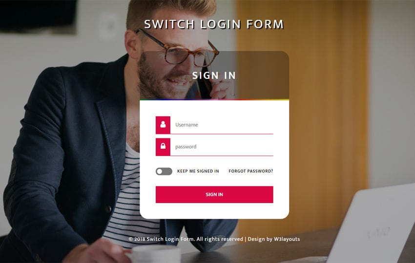 Switch Login Form Flat Responsive Widget Template Mobile website template Free