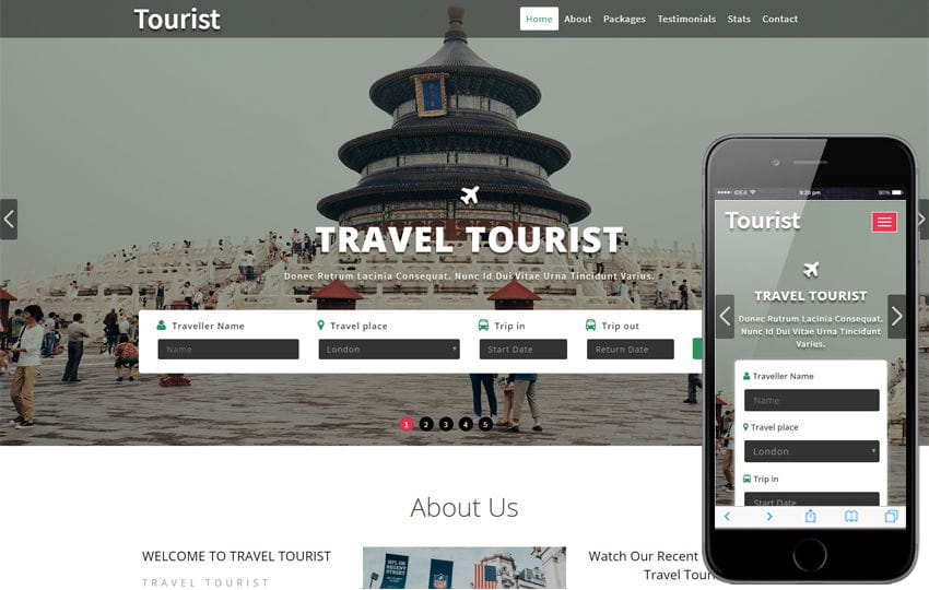 Tourist a Travel Category Bootstrap Responsive Web Template Mobile website template Free
