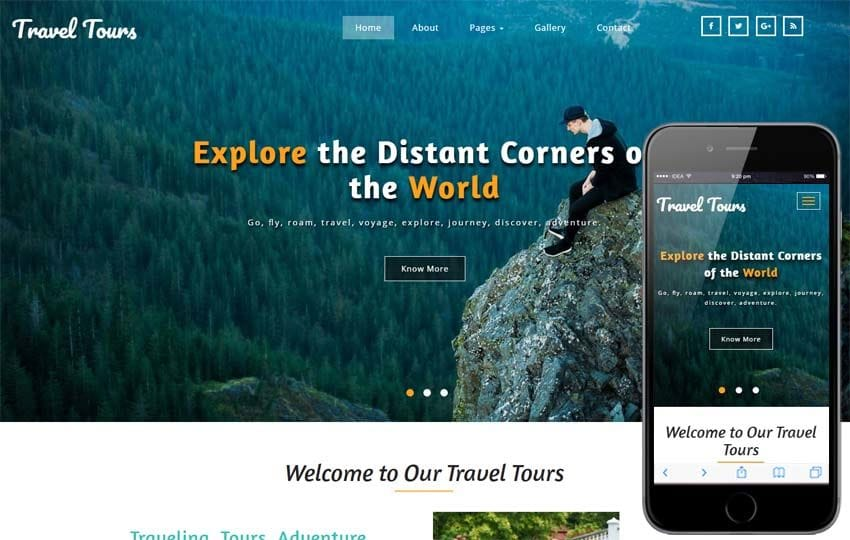 Travel Tours Travel Category Bootstrap Responsive Web Template Mobile website template Free