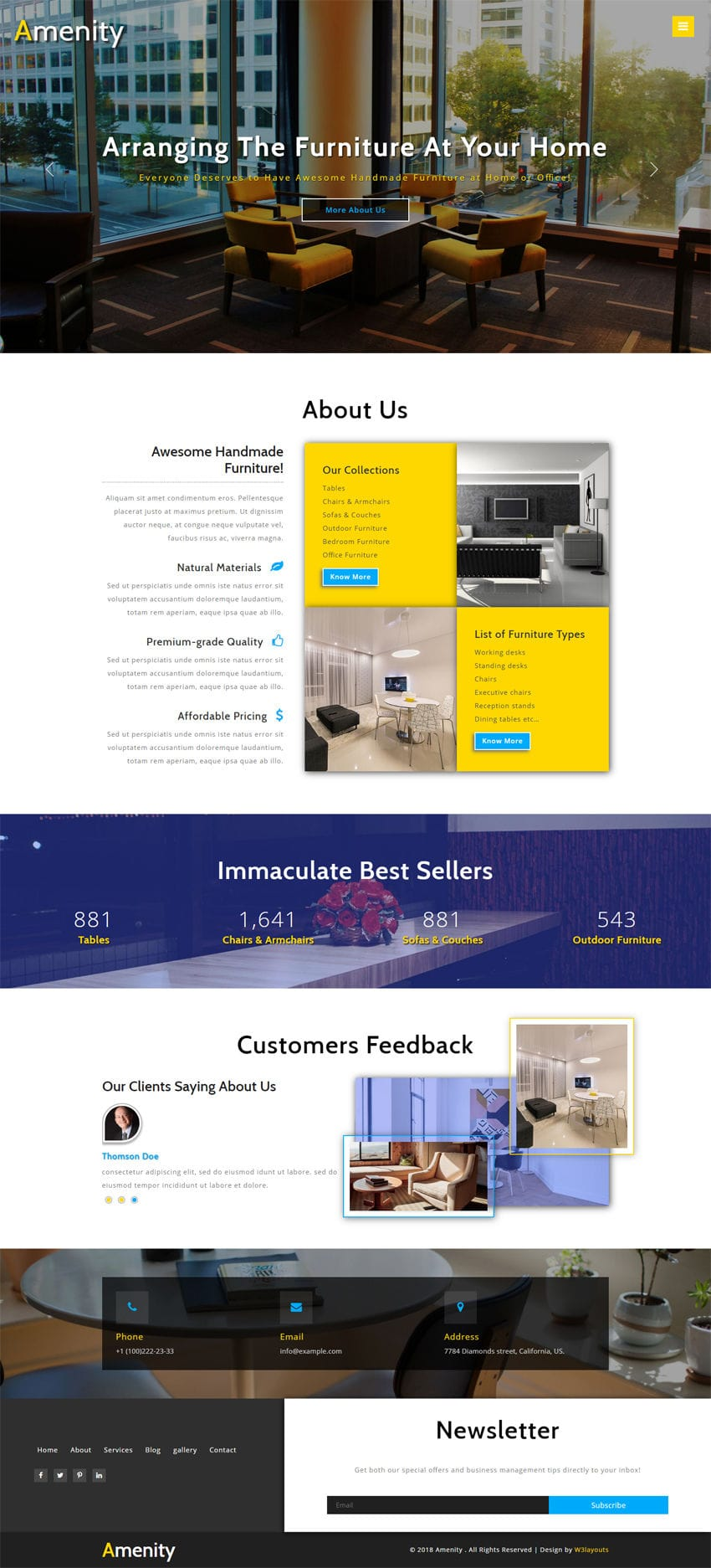 amenity interior category bootstrap responsive web template. Black Bedroom Furniture Sets. Home Design Ideas