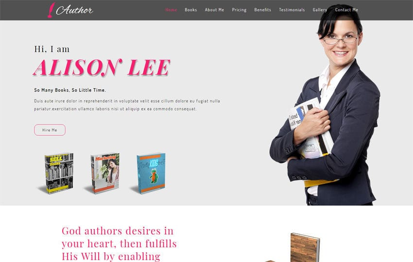 Author Personal Category Bootstrap Responsive Web Template Mobile website template Free