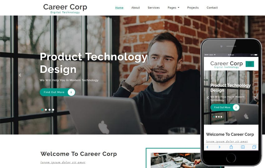 Career Corp Corporate Category Bootstrap Responsive Web Template Mobile website template Free