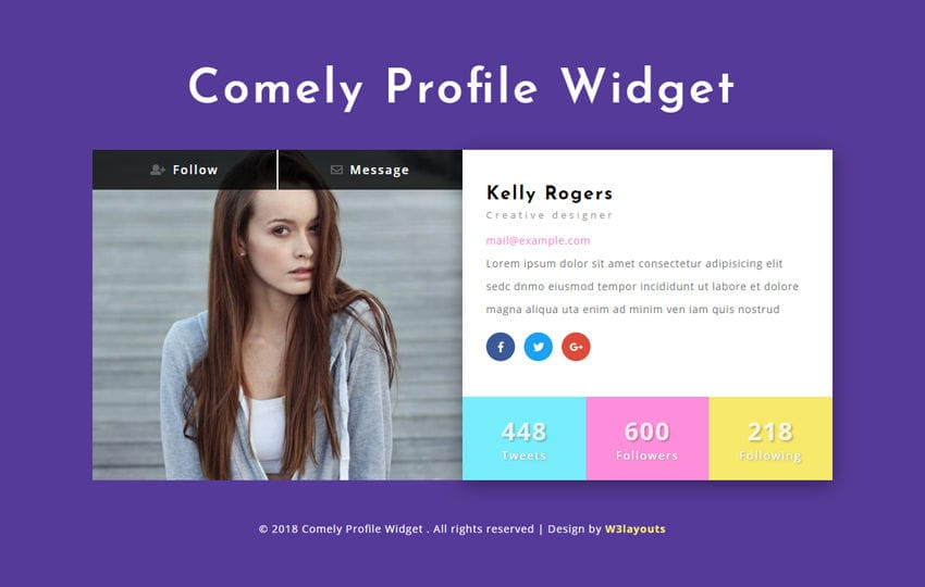 Comely Profile Widget Responsive Widget Template Mobile website template Free