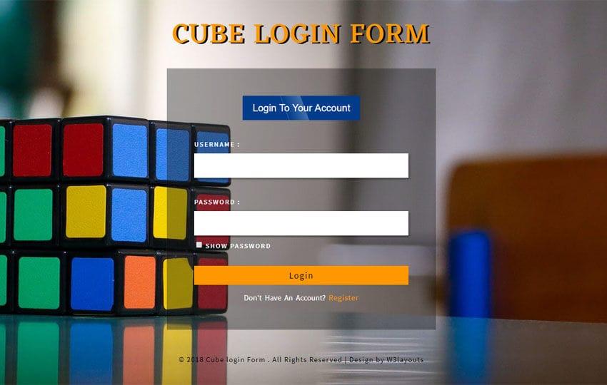 Cube Login Form Flat Responsive Widget Template Mobile website template Free