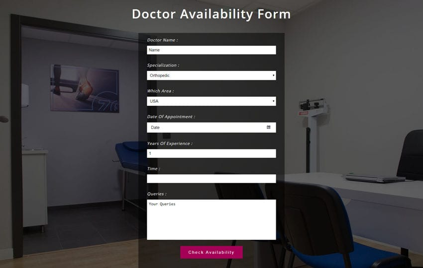 Doctor Availability Form Responsive Widget Template Mobile website template Free
