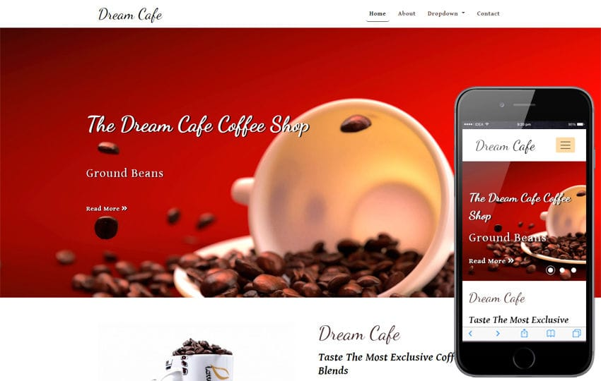 Dream Cafe Restaurant Category Bootstrap Responsive Web Template Mobile website template Free