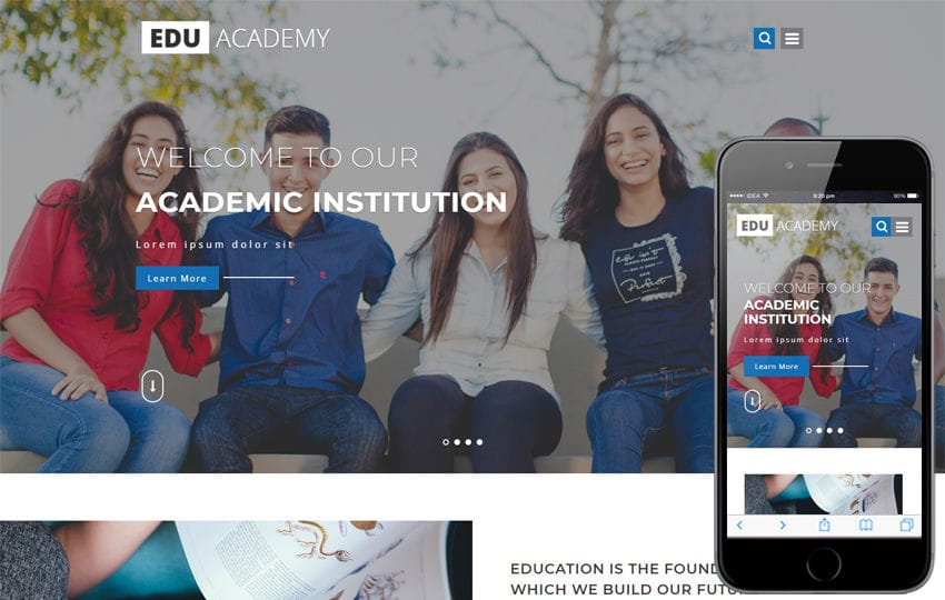 Edu Academy Education Category Bootstrap Responsive Web Template Mobile website template Free