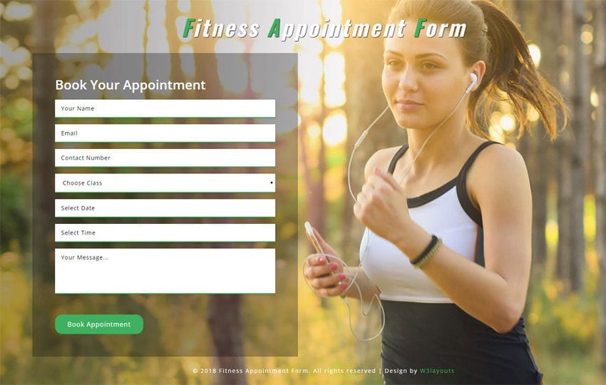 Fitness Appointment Form Responsive Widget Template Mobile website template Free