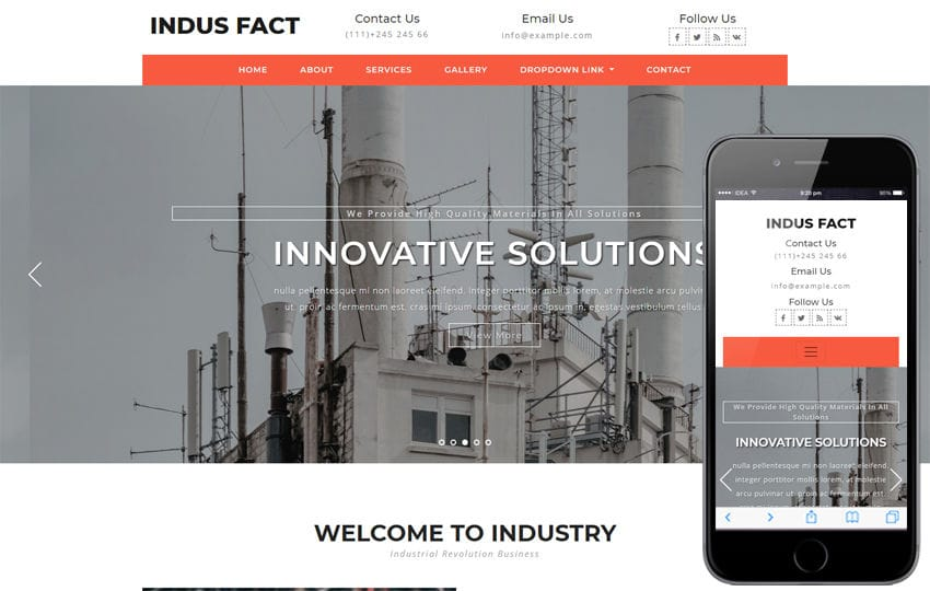 Indus Fact Industrial Category Bootstrap Responsive Web Template Mobile website template Free