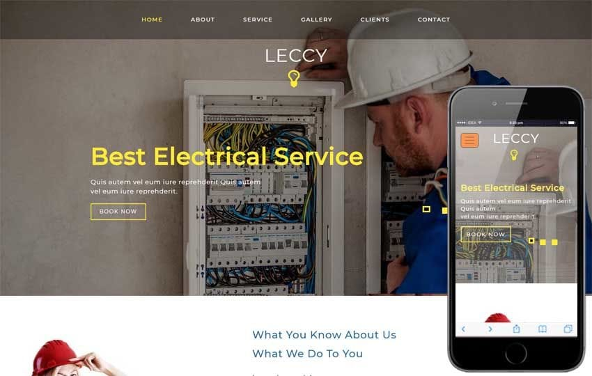 Leccy Industrial Category Bootstrap Responsive Web Template Mobile website template Free