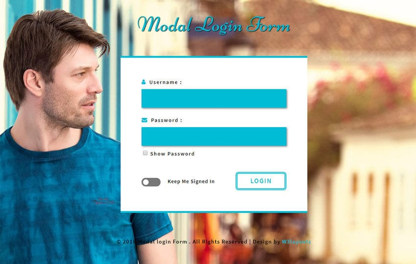 Modal Login Form Flat Responsive Widget Template Mobile website template Free