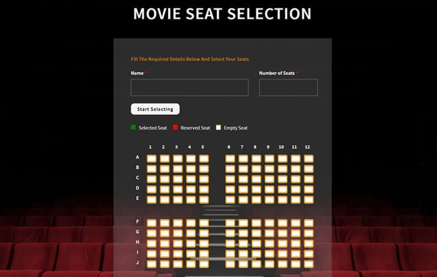 Movie Seat Selection Flat Responsive Widget Template Mobile website template Free