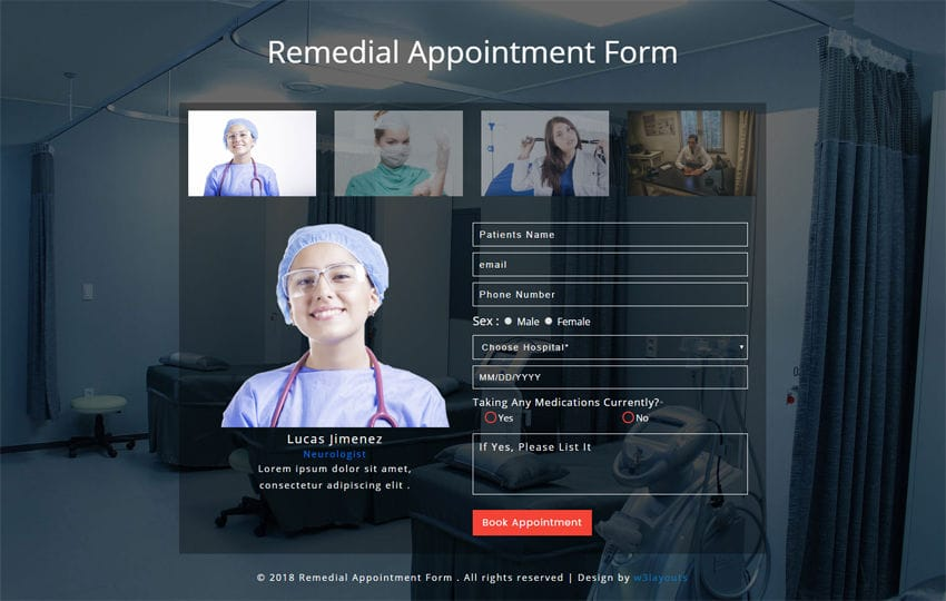 Remedial Appointment Form Responsive Widget Template Mobile website template Free
