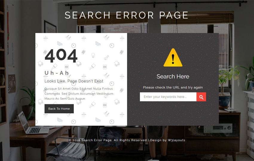 Search Error Page Flat Responsive Widget Template Mobile website template Free