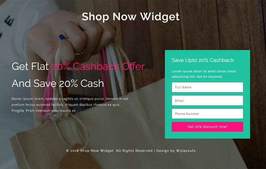 Shop Now Widget Flat Responsive Widget Template Mobile website template Free