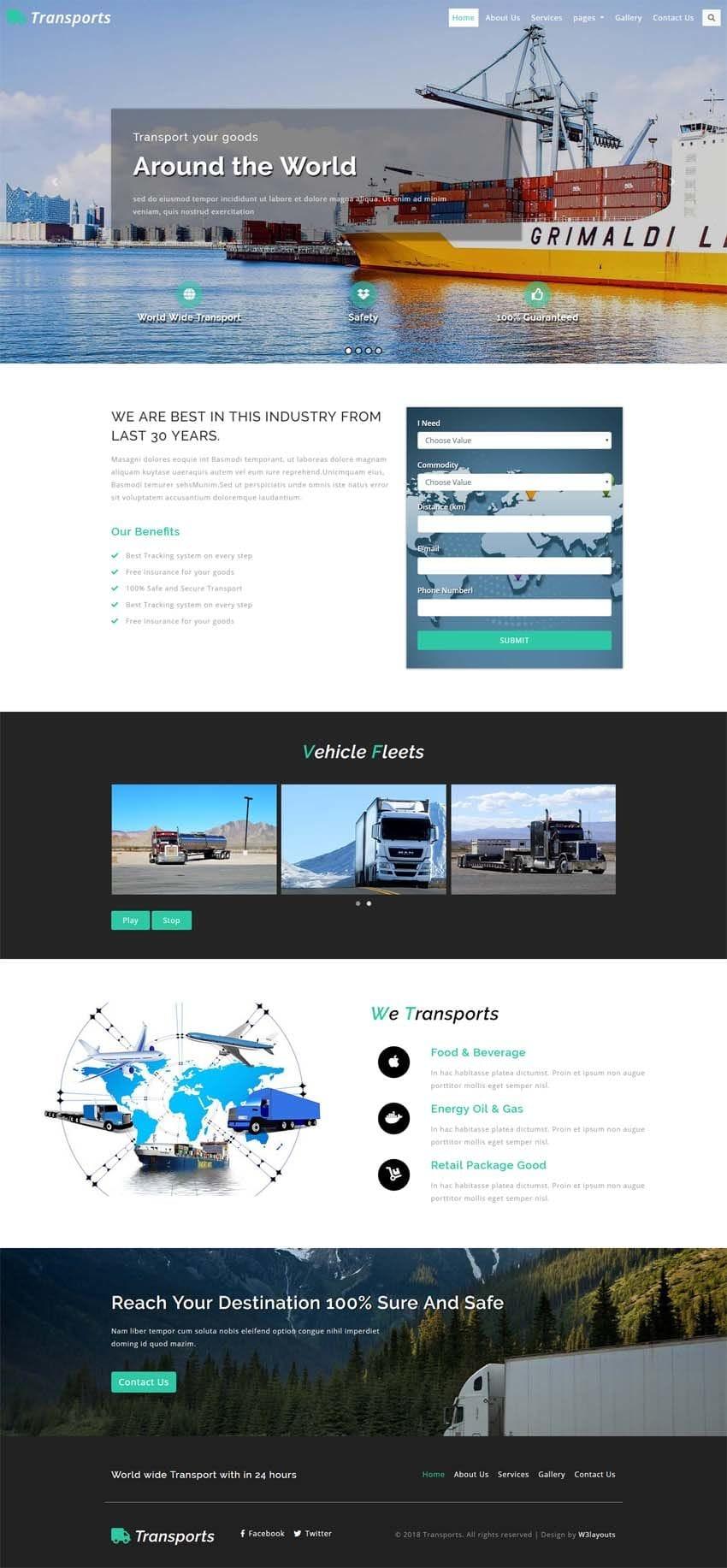 transports transportation category bootstrap responsive web template. Black Bedroom Furniture Sets. Home Design Ideas