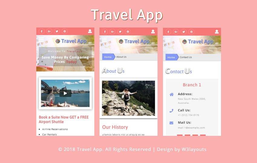 Travel App Flat Bootstrap Responsive Web Template
