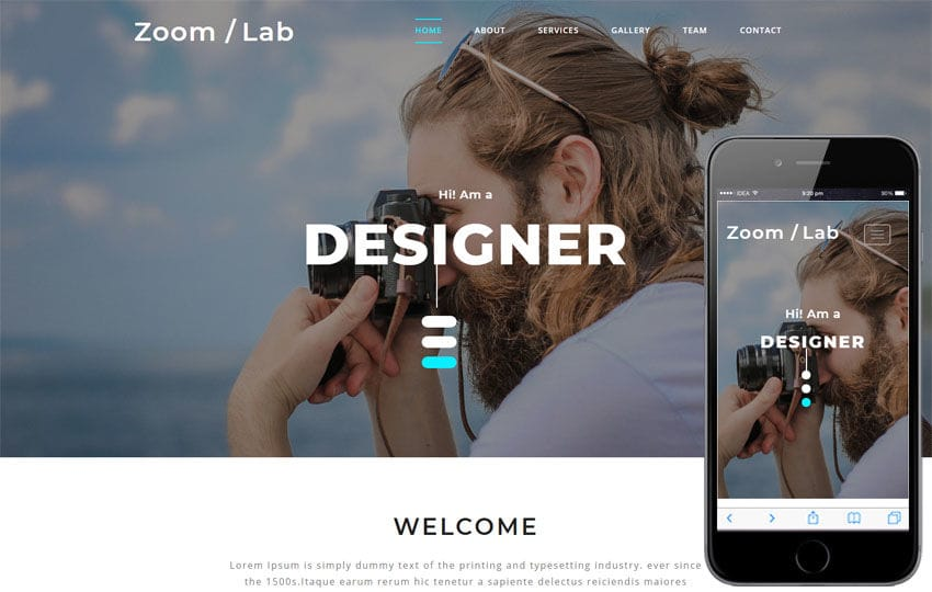 Zoom Lab Photo Gallery Category Bootstrap Responsive Web Template Mobile website template Free
