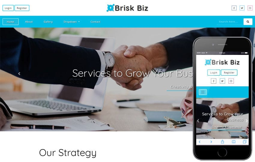 Brisk Biz Corporate Category Bootstrap Responsive Web Template Mobile website template Free